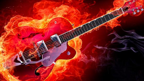 Rockabilly electric guitar on fire wallpaper