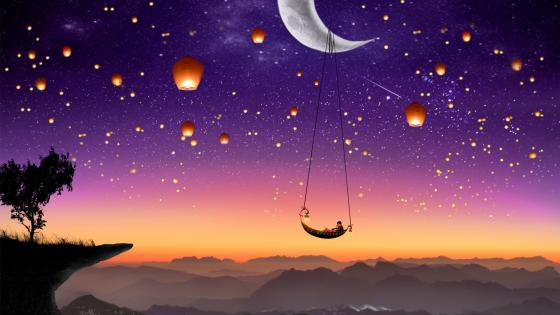 Chinese wish lanterns - Fairytale art wallpaper