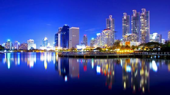 Bangkok city downtown reflection at night wallpaper