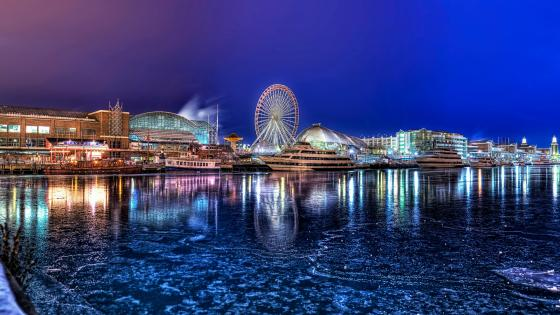 Navy Pier at night (Chicago) wallpaper
