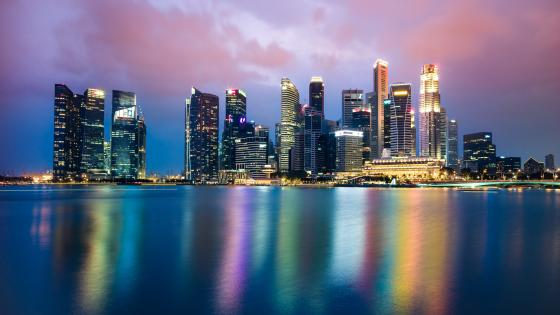 Singapore skyline at dusk wallpaper