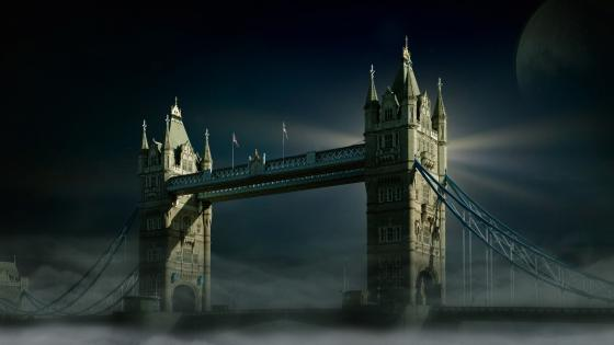 Tower Bridge in mist wallpaper