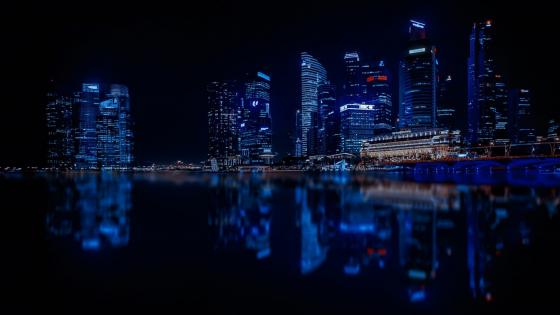 Illuminated Singapore reflection wallpaper