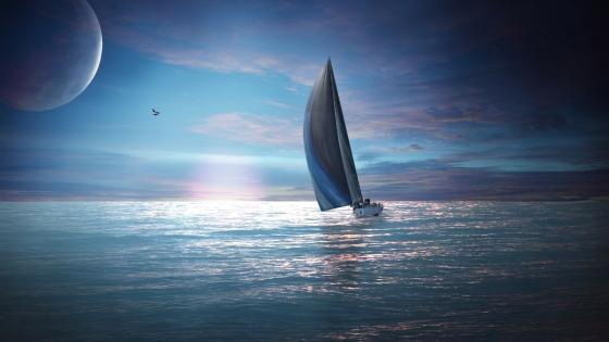 Lonely Sailboat - Fantasy art wallpaper