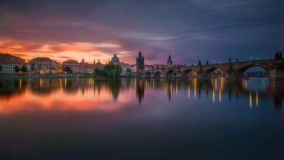 Vltava river and Charles Bridge at dusk wallpaper