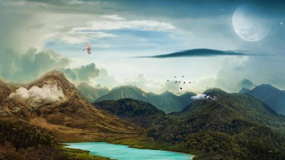 Fantasy landscape with a flying Boeing PT-17 Kaydet aircraft wallpaper