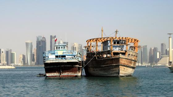 Old and new ships near Doha wallpaper