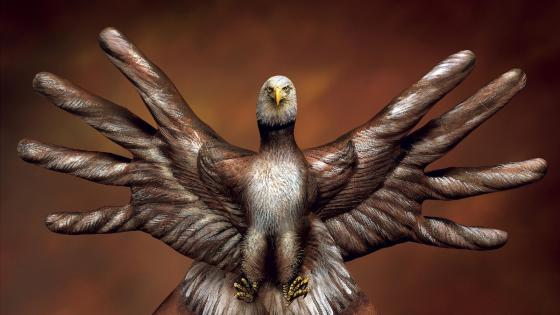 Bald eagle hands - Body painting art wallpaper