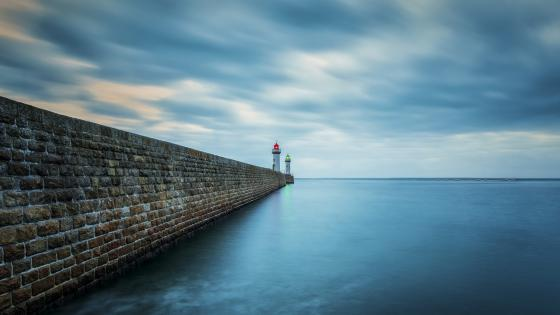 Breakwater lighthouses (Belle Ile, France) wallpaper