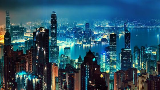 Hong Kong at night wallpaper