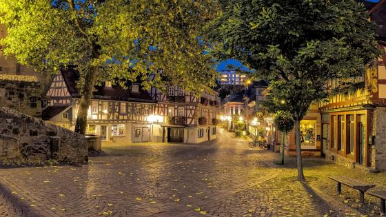 Idstein's street at dusk wallpaper