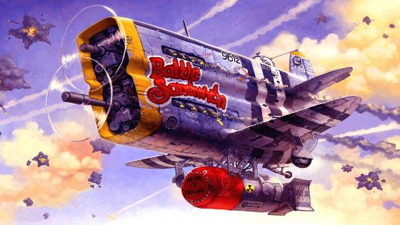 Battle Sandwich Airplane Painting wallpaper