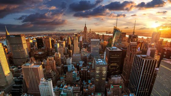 New York skyline with Empire State Building wallpaper