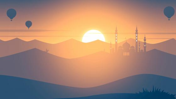 Mosque at sunset wallpaper