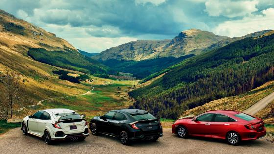 Three Honda cars at Rest and Be Thankful Viewpoint wallpaper