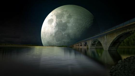 Supermoon Bridge wallpaper