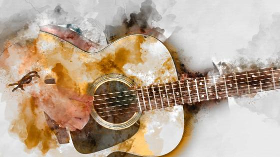 Playing Guitar Painting wallpaper