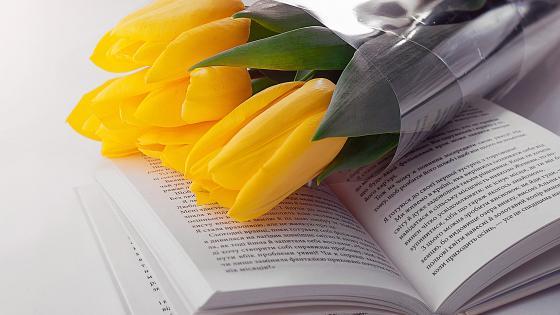 Yellow tulip bouquet wallpaper