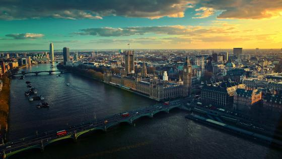 London skyline at sunset wallpaper