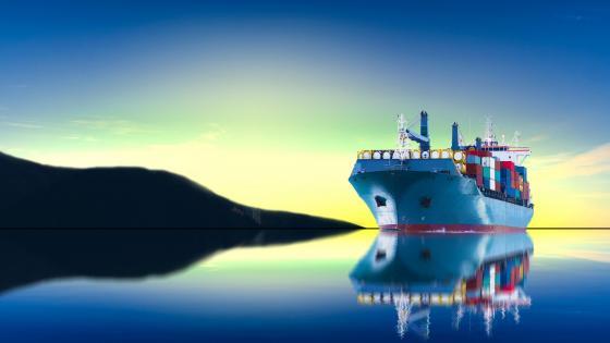 Blue freighter wallpaper