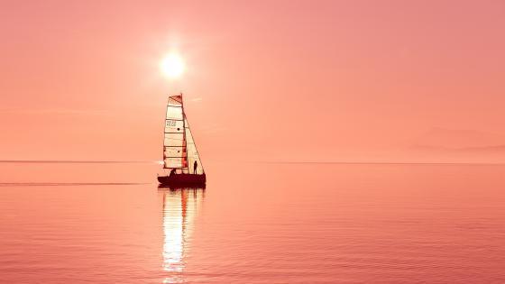 Sailboat at sunset wallpaper