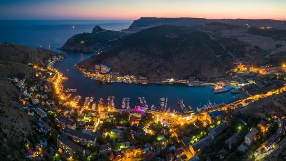 Balaklava Bay at dusk (Crimean Peninsula) wallpaper