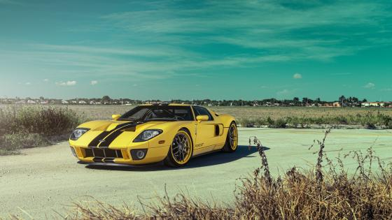 Yellow Ford GT wallpaper