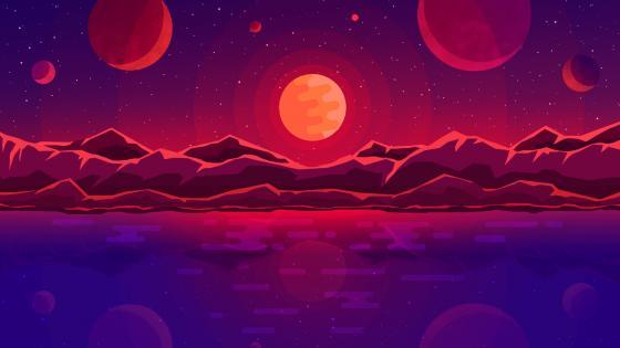 Space sunset wallpaper