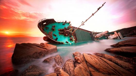 Shipwreck in the sunset wallpaper