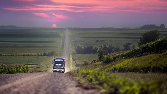 Truck on the road wallpaper