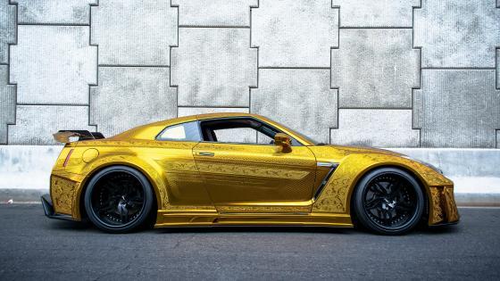 Gold Nissan GT-R wallpaper