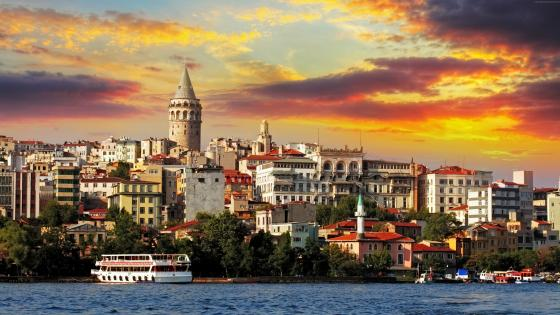 Istanbul at sunset wallpaper