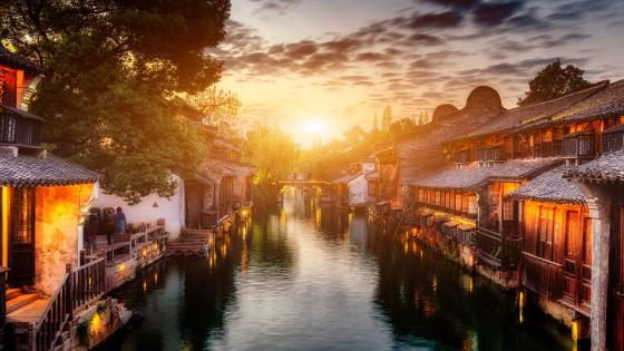Wuzhen sunset wallpaper