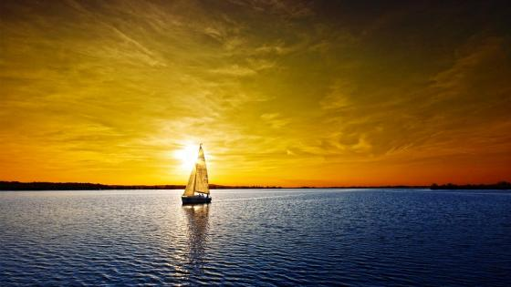 Sailing boat in the sunset wallpaper