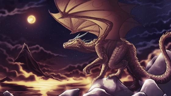 Dragon with full moon - Fantasy art wallpaper