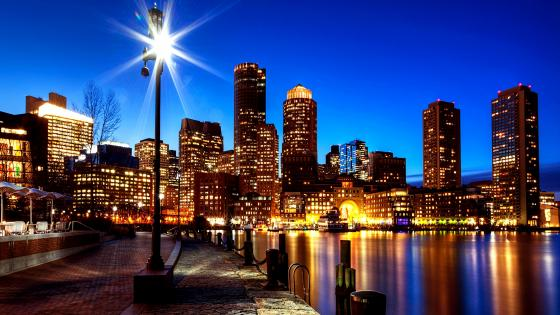 Boston at dusk wallpaper