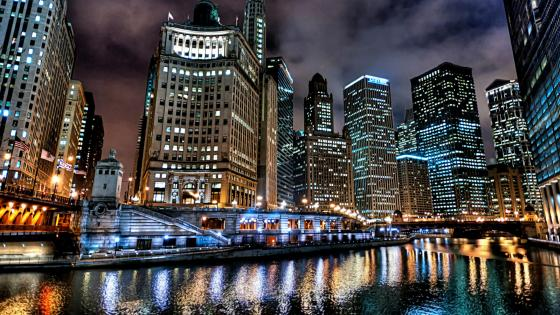Chicago skyline at night wallpaper
