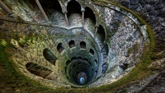 Spiral staircase from above wallpaper