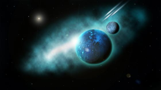 Fantasy planets in the space wallpaper
