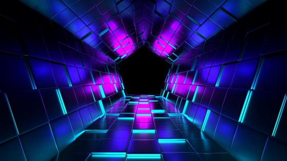 Pentagon tunnel with neon lights wallpaper
