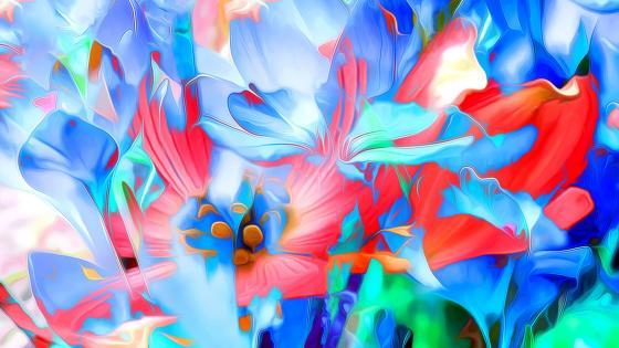 3D Abstract flowers wallpaper