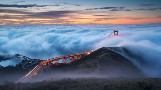 Golden Gate Bridge in clouds wallpaper