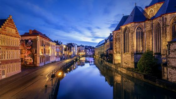 Ghent at dusk wallpaper