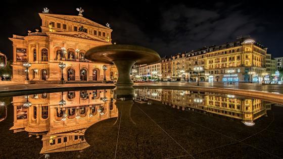 Alte Oper (Old Opera House) at night, Frankfurt wallpaper