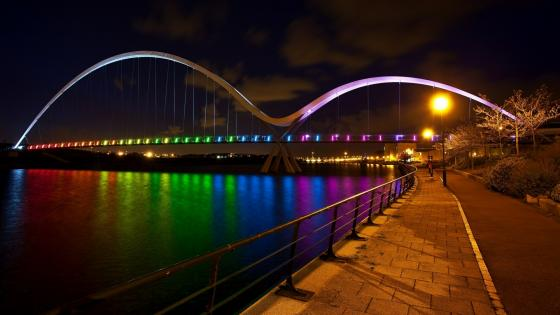 Rainbow colored Infinity Bridge over River Tees wallpaper