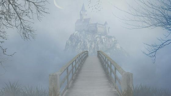 Gothic fantasy castle in the fog wallpaper