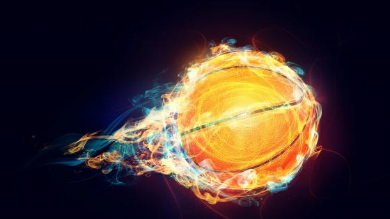Basketball in flames wallpaper