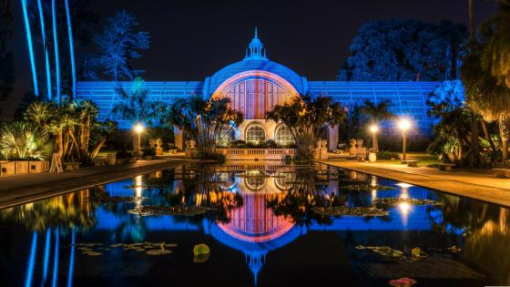 Balboa Park at night wallpaper