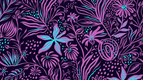 Purple floral pattern wallpaper