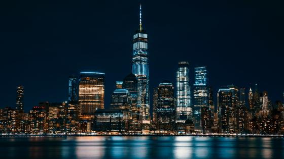 One World Trade Center at night wallpaper